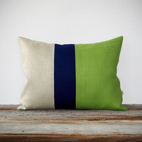 Color Block Stripe Pillow in Lime Green, Navy and Natural Linen by JillianReneDecor Spring Home Decor - Decorative Pillow - Tender Shoots