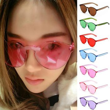 2017 Unisex No Frame Women Sunglasses Cat Eye UV400 Anti-UV Fashion Transparent Glasses Candy Color Glasses Summer Goggles