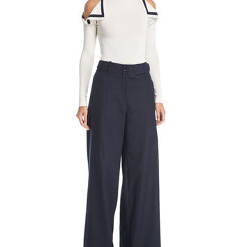 Oscar de la Renta Cold-Shoulder Bow-Trim Top and Matching Items