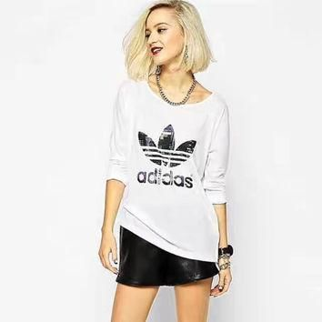 """""""Adidas"""" Women Sports Casual Clover Letter Print Loose Long Sleeve T-shirt Tops"""