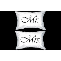Simple Mr. & Mrs. Matching Couple Pillowcases (Set)