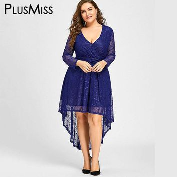 Plus Size Deep V Neck Lace Long Sleeve Elegant Long Maxi Dress