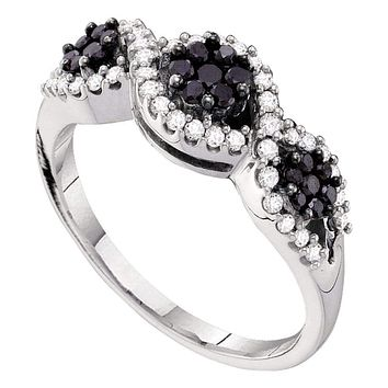 14kt White Gold Women's Round Black Color Enhanced Diamond Flower Cluster Band Ring 1/2 Cttw - FREE Shipping (US/CAN)