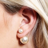 Front-Back Faux Pearl Earrings | MakeMeChic.com