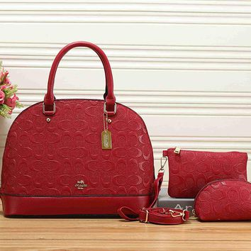 COACH Women Shopping Leather Tote Handbag Shoulder Bag Set Three-Piece