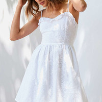 Kimchi Blue Ruffle Eyelet Fit + Flare Mini Dress | Urban Outfitters