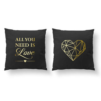 SET of 2 Pillows, All You Need Is Love, Bedroom Decor, Livingroom Decor, Throw Pillow, Geometric Heart, Cushion Cover,Gold Decorative Pillow
