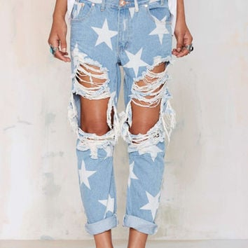 Star pattern loose ripped big hole jeans tassels trousers pants plus size