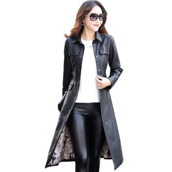 Women Long Leather Jacket 2017 New Fashion Ladies Elegant Washed PU Leather Coats Trench Female Outerwear With Belted Plus Size