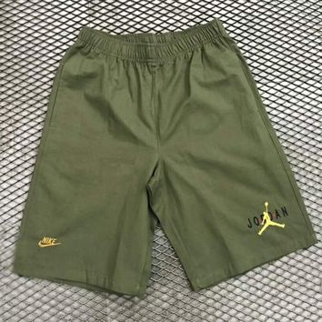 Nike & Jordan new fashion letter embroidery couple shorts Army green