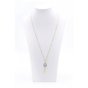 Gold Plated Raw Druzy Stone Pendant Gold Chain Necklace With Feather Charm