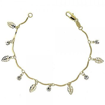 Gold Layered 03.63.0204.07 Charm Bracelet, Leaf Design, with White Cubic Zirconia, Polished Finish, Gold Tone