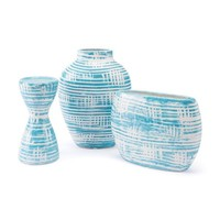 A10284 Washed Candle Holder Blue & White