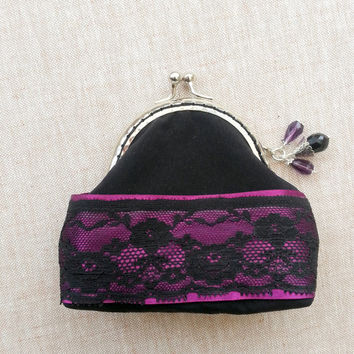 Black and purple coin purse, Black coin purse, gothic fabric pouch, violet gothic lace purse, Fabric small bag, victorian porple coin purse