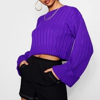 Amber Wide Sleeve Cropped Jumper | Boohoo