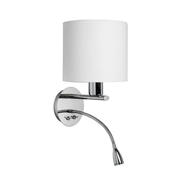Dainolite Decorative Wall Sconce with Gooseneck LED Reading Lamp, Polished Chrome, white fabric shade