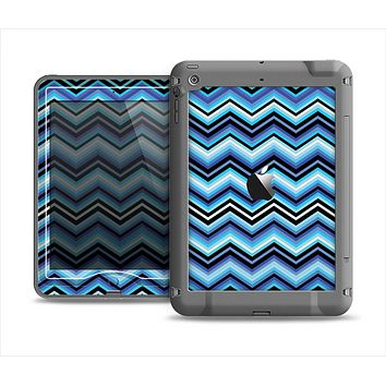 The Thin Striped Blue Layered Chevron Pattern Apple iPad Mini LifeProof Nuud Case Skin Set