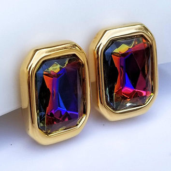 Vintage KJL Kenneth Jay Lane Goldtone Watermelon Heliotrope Rhinestone Clip On Earrings MOTHERS DAY