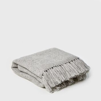 Alpaca Basketweave Throw - Light Grey