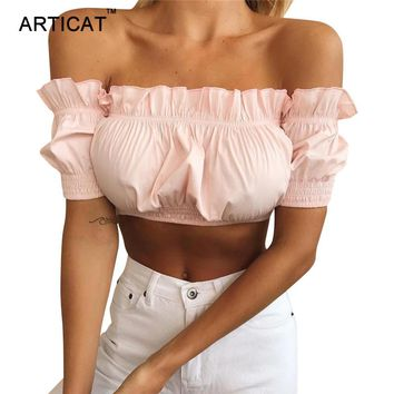 Articat Off Shoulder Women Crop Top 2018 Summer Lantern Sleeve Ruffles Sexy Strapless Short Ruched Tops Elastic Cropped Tank Top