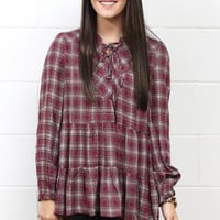 Innocent Plaid Lace Up Peasant Blouse {Berry Mix}