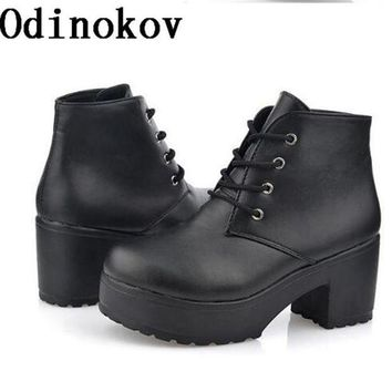 DCK7YE New Fashion Women Platform Heels Ankle Boots Thick Heel Platform Shoes Combat Boots