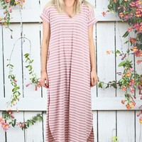 U-Hem Short Sleeve Striped Maxi Dress {Mauve}
