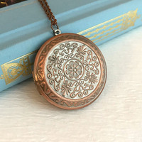 Large Rose Gold Locket Necklace, embossed filigree vintage style medallion copper pendant huge romantic gift gifts for wife girlfriend