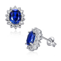 Sterling Silver 2.5ct Oval Sapphire Stud Earrings