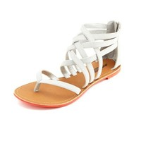 Neon Sole Strappy Zip-Back Sandal: Charlotte Russe