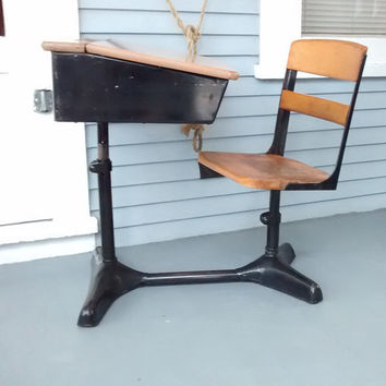 Desk and Chair, Kids Furniture, Back to School, Metal and Wood, Vintage