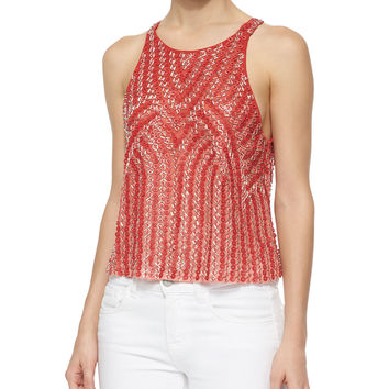 Clinton Beaded Tank, Red, Size: