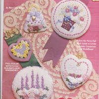 Ribbon Stitches booklet 15 ribbon embroidery medallions for brooches, necklaces, ornaments + sampler by Mary Lou Wright for Design Originals