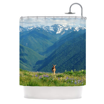 "Robin Dickinson ""Nature's Calling"" Blue Green Shower Curtain"