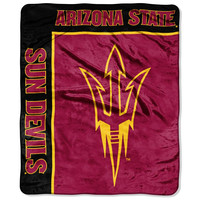 Arizona State Sun Devils NCAA Royal Plush Raschel Blanket (School Spirit Series) (50in x 60in)