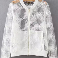 White Sheer Mesh Feather Embroidered Varsity Jacket
