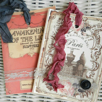shabby paris gift tag set valentines wedding gift embellishment french ephemera pink cream
