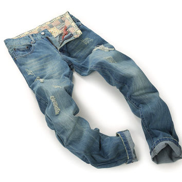 Strong Character Ripped Holes Men's Fashion Cotton Denim Pants Jeans [6541849411]