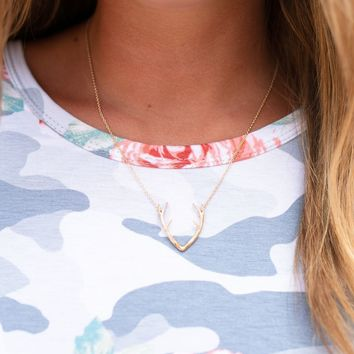 Dainty Gold Antler Necklace
