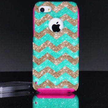 iPhone 5c Otterbox Case - Small Chevron iPhone 5c Commuter Case Wintermint/Gold - iPhone 5c Otterbox Cover