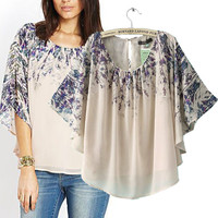 Floral Batwing Short Sleeve Top