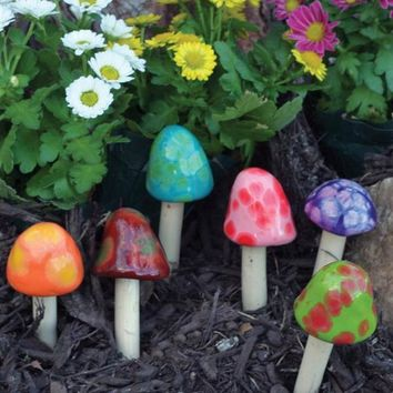 GLAZED TOADSTOOL STAKES - Ceramic Toadstool Garden Decorations