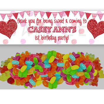 1st Birthday Valentine Party Bag Toppers - Red Glitter Hearts Party Favor Goody Bags - Valentines Birthday Party - Favor Ideas - Pink kids