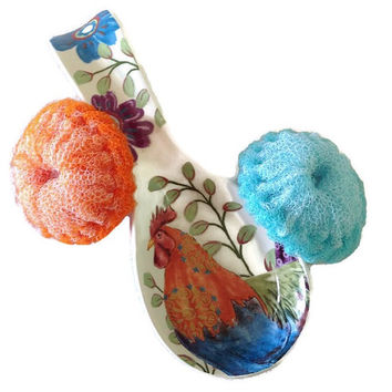 Nylon Pot Scrubbers/ Rooster Spoon Rest Gift Set, 2 Mini Scrubbies with 1 Rooster Spoon Rest - Great on Teflon & Iron-Clad Surfaces