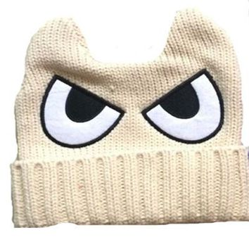 spring winter caps for children big eyes Knitted Cartoon warm baby beanie crochet kids boy girls handmade hats