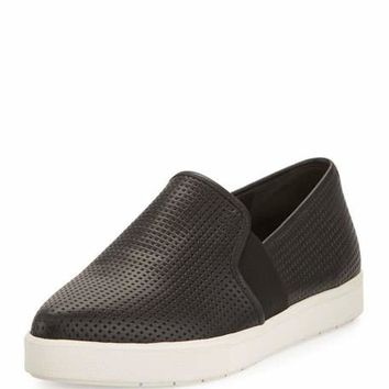 Vince Pierce Perforated Leather Skate Sneaker, Black