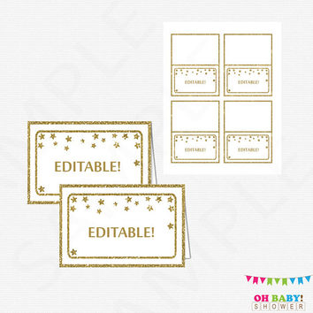 Gold Baby Shower Decorations, Editable Food Labels, Twinkle Twinkle Little Star, Tent Cards, Place Cards Printable Download, Neutral STGG