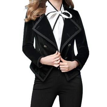 Women Double Breasted Black Velvet Blazers Slim Lapel Work Suit Blazer
