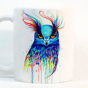 Owl coffee mug Owl mug Watercolor Mug Coffee Cup, Watercolor ceramic mug, Tea Cup, Gift for her, Gift for him, Printed mug, Ceramic mug