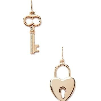 Heart Lock & Key Drop Earrings